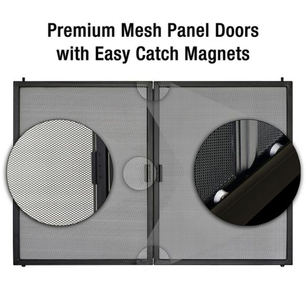 Easy catch magnets on the Pleasant Hearth Cahill Glass Firescreen Antique Brass-CA-3200--CH-3200_B4_750x750