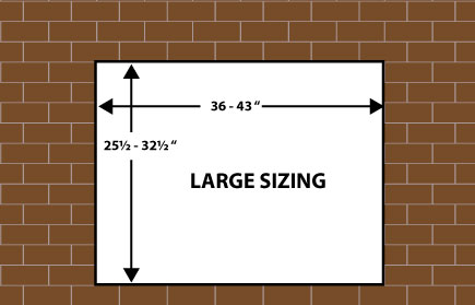 Large size dimensions for fireplace door