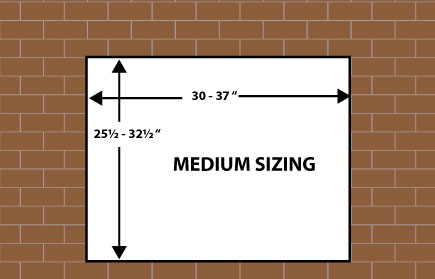 Medium size dimensions for fireplace door