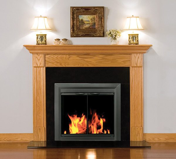 Pleasant Hearth Carlisle Fireplace Glass Door lifestyle