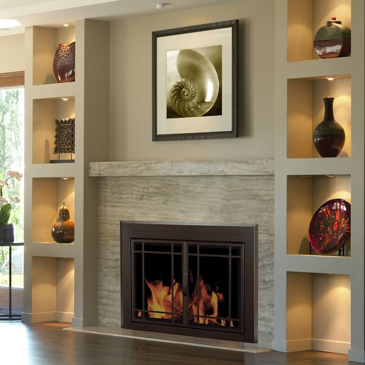 Sarah Check Hearth Cabinet: Pleasant Hearth Enfield Fireplace Door