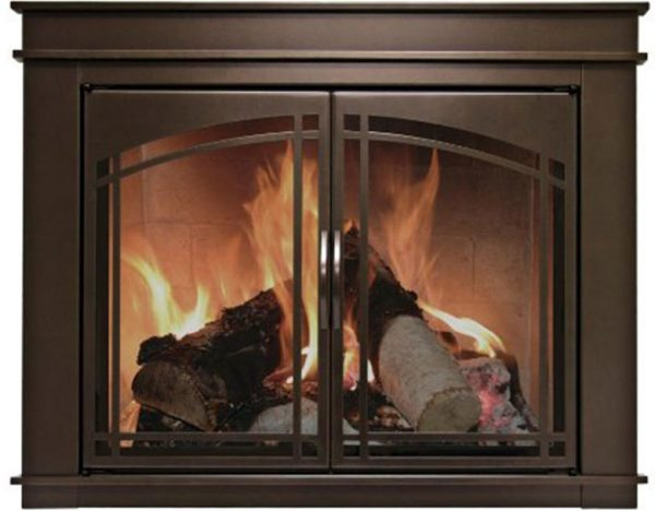 Fire inside the Pleasant Hearth - Fenwick Glass Firescreen Oil Rubbed Bronze
