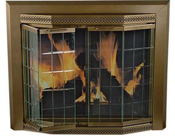 Pleasant Hearth Grandoir Fireplace Glass Door Antique Brass