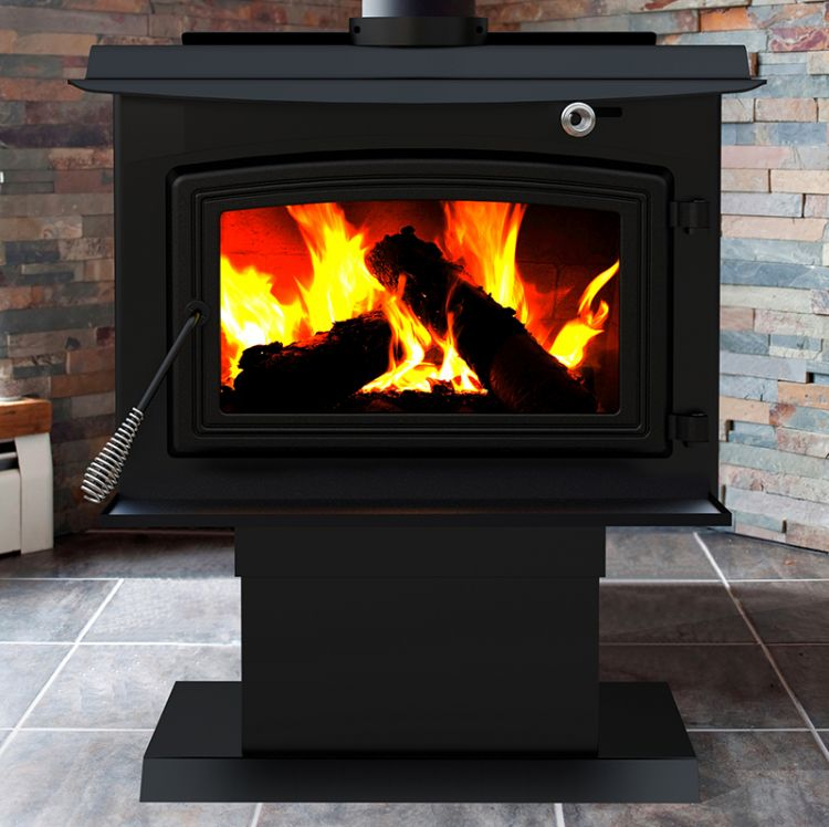 Lifestyle shot of the Pleasant Hearth WS-3029 2,200 Sq. Ft. Large Wood Burning Stove