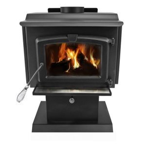 Pleasant Hearth HWS-224172MH 1,200 Sq. Ft. Small Mobile Home Stove - front flames
