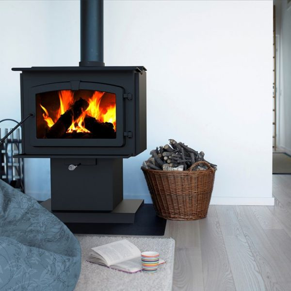 lifestyle shot of Pleasant Hearth HWS-224172MH 1,200 Sq. Ft. Small Mobile Home Stove