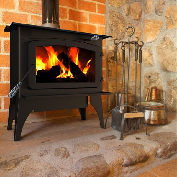 Lifestyle shot of Pleasant Hearth LWS-130291 2,200 Sq. Ft. Large Wood Burning Stove