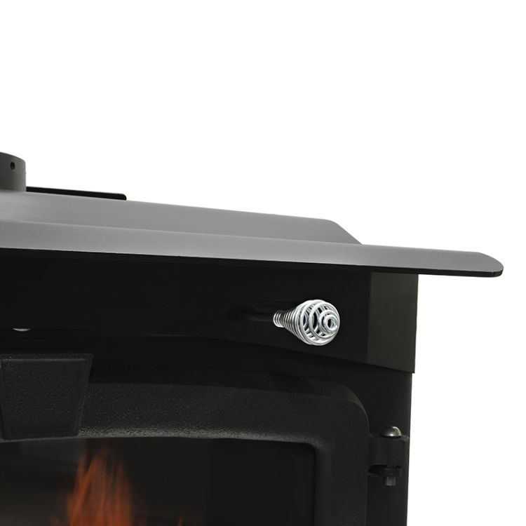 Air control handle of the Pleasant Hearth LWS-130291 2,200 Sq. Ft. Large Wood Burning Stove