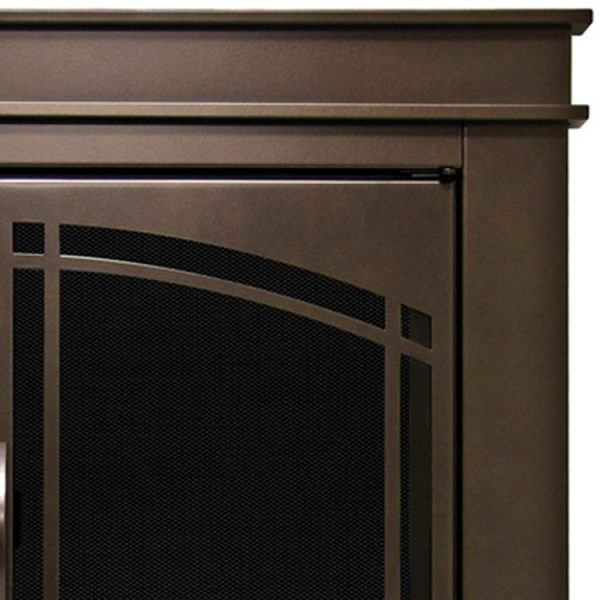 Close up shot ofPleasant Hearth - Fenwick Glass Firescreen Oil Rubbed Bronze