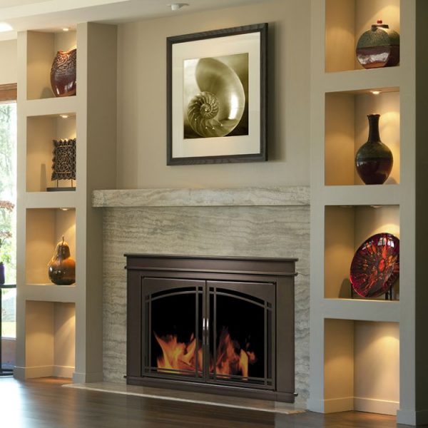 Pleasant Hearth - Fenwick Glass Firescreen Oil Rubbed Bronze-lifestyle