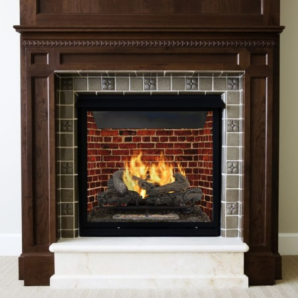 Pleasant Hearth 30'' Valley Oak Vent Free Gas Log Set 33,000 BTU's in fireplace