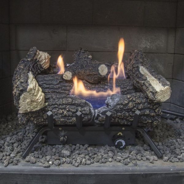 "in hearth Pleasant Hearth 18"" Dual Fuel Wildwood Vent Free Gas Log Set 30,000 BTU"