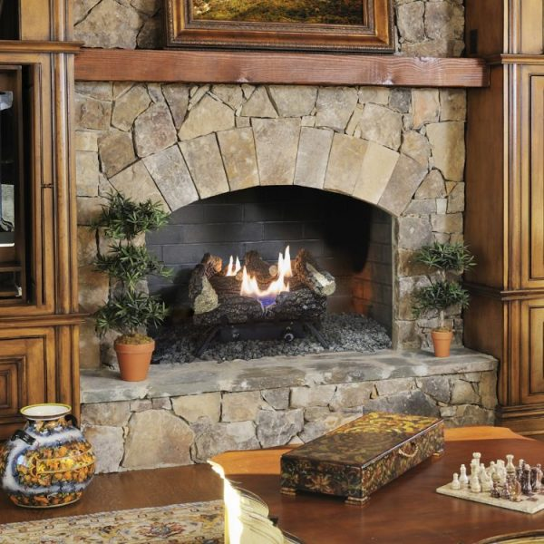 "Lifestyle shot of the Pleasant Hearth 18"" Dual Fuel Wildwood Vent Free Gas Log Set 30,000 BTU - VFL2-WW18DT"
