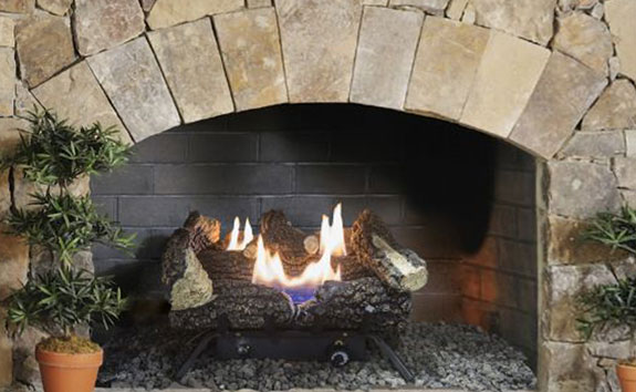 "Lifestyle shot of Pleasant Hearth 18"" Dual Fuel Wildwood Vent Free Gas Log Set 30,000 BTU - VFL2-WW18DT"