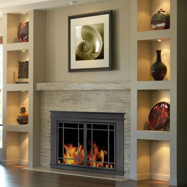 Pleasant Hearth - Fillmore Glass Firescreen Midnight Black-lifestyle