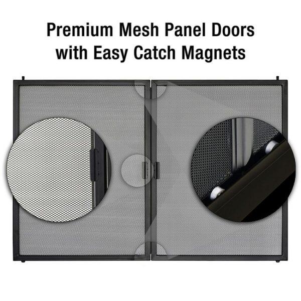 Pleasant Hearth - Fillmore Glass Firescreen Midnight Black-mesh