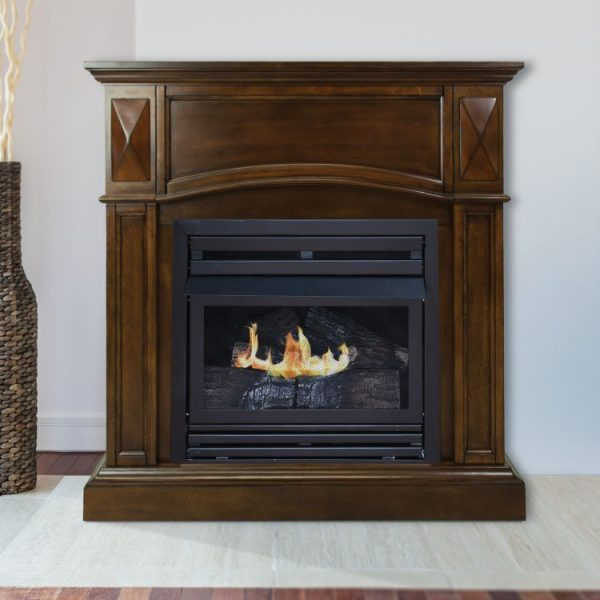 Lifestyle shot of Pleasant Hearth 36 in. LP Compact Cherry VF Fireplace System 20K BTU - VFF-PH20LP-C2