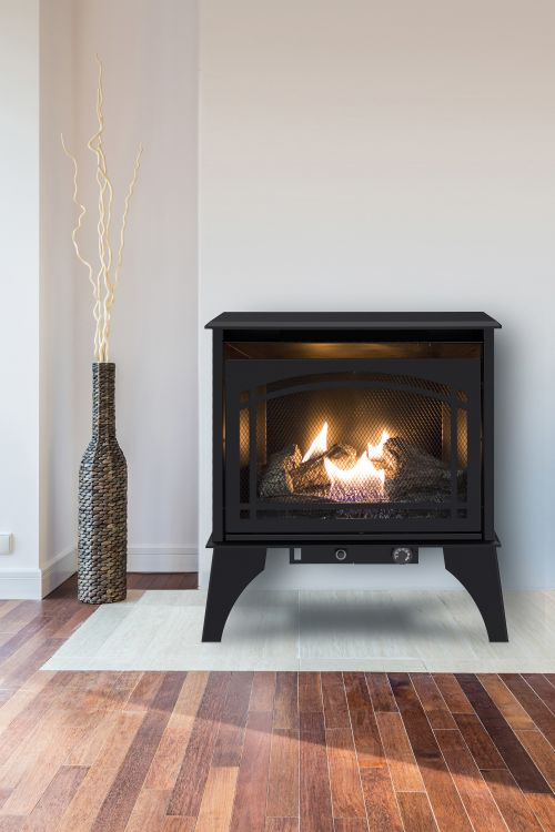 Lifestyle shot of Pleasant Hearth 20,000 BTU 23.5 in. Compact Vent Free Gas Stove