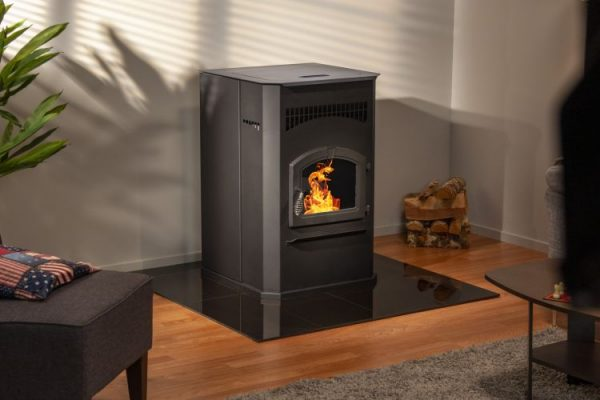 Lifestyle shot of Pleasant Hearth 50,000 BTU Cabinet Pellet stove PH50CABPS-B