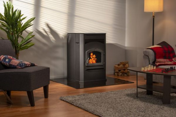 Lifestyle shot of the Pleasant Hearth 50,000 BTU Cabinet Pellet Stove - PH50CABPS-B
