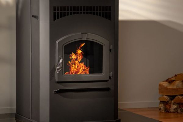 Closeup shot of Pleasant Hearth 50,000 BTU Cabinet Pellet stove PH50CABPS-B