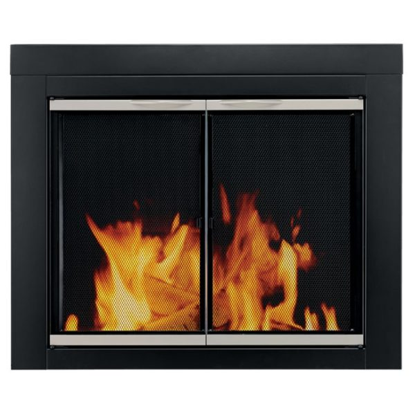 Pleasant Hearth - Alsip Glass Firescreen Black