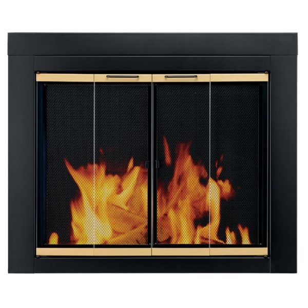 Pleasant Hearth Arrington Black with gold trim Fireplace Glass Firescreen doors