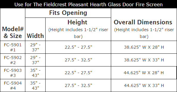 Glass Door Sizing Chart